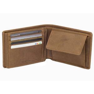 DiLoro Men's Leather Bifold Wallet with Flip ID, Coin Wallet and RFID Blocking Technology half open, inside view.