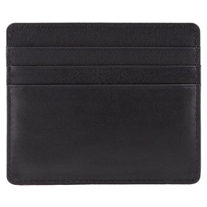 Black Nappa DiLoro Leather Ultra Slim RFID Blocking Minimalist Travel Card Wallet - Back View (Empty)