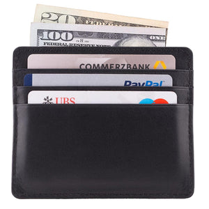 Back View Black Nappa DiLoro Leather Ultra Slim RFID Blocking Minimalist Travel Card Wallet