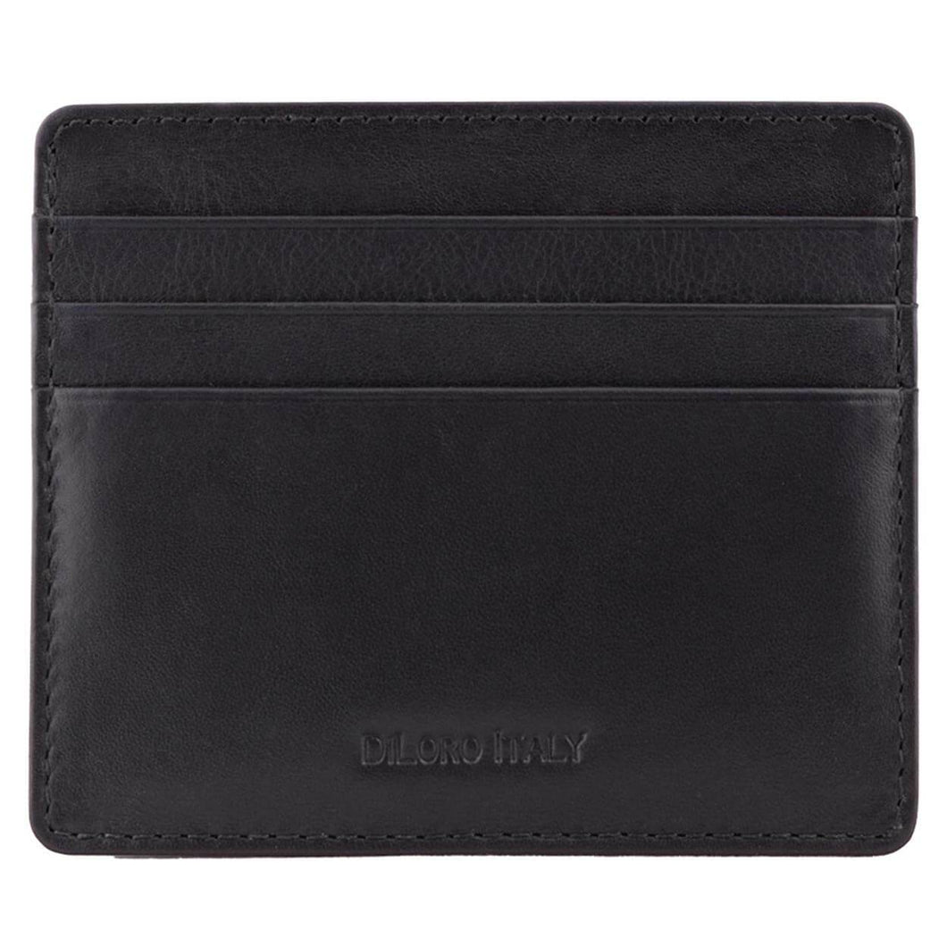Black Nappa DiLoro Leather Ultra Slim RFID Blocking Minimalist Travel Card Wallet - Front View (Empty)
