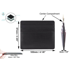 Black Nappa DiLoro Leather Ultra Slim RFID Blocking Minimalist Travel Card Wallet - Dimensions and Product Details