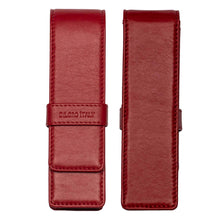 Load image into Gallery viewer, DiLoro Double Pen Case Holder in Top Quality, Full Grain Nappa Leather - Red, Front and Back View