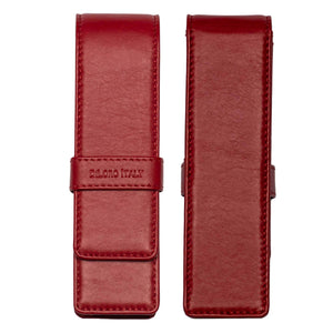 DiLoro Double Pen Case Holder in Top Quality, Full Grain Nappa Leather - Red, Front and Back View