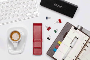 DiLoro Double Pen Case Holder in Top Quality, Full Grain Nappa Leather - Venetian Red (pens not included)