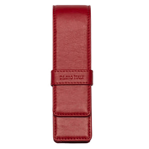 DiLoro Double Pen Case Holder in Top Quality, Full Grain Nappa Leather - Venetian Red (front view)