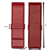 Load image into Gallery viewer, DiLoro Double Pen Case Holder in Top Quality, Venetian Red, Full Grain Nappa Leather - Front and Back View with Dimensions