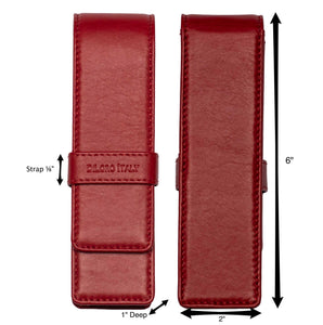 DiLoro Double Pen Case Holder in Top Quality, Venetian Red, Full Grain Nappa Leather - Front and Back View with Dimensions