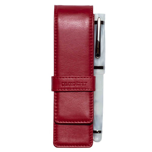 DiLoro Double Pen Case Holder in Top Quality, Full Grain Nappa Leather - Red, Front View with Pen (not included)