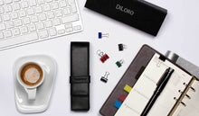 Load image into Gallery viewer, DiLoro Double Pen Case Holder in Top Quality, Full Grain Nappa Leather - Black (pens not included)