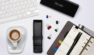 DiLoro Double Pen Case Holder in Top Quality, Full Grain Nappa Leather - Black (pens not included)
