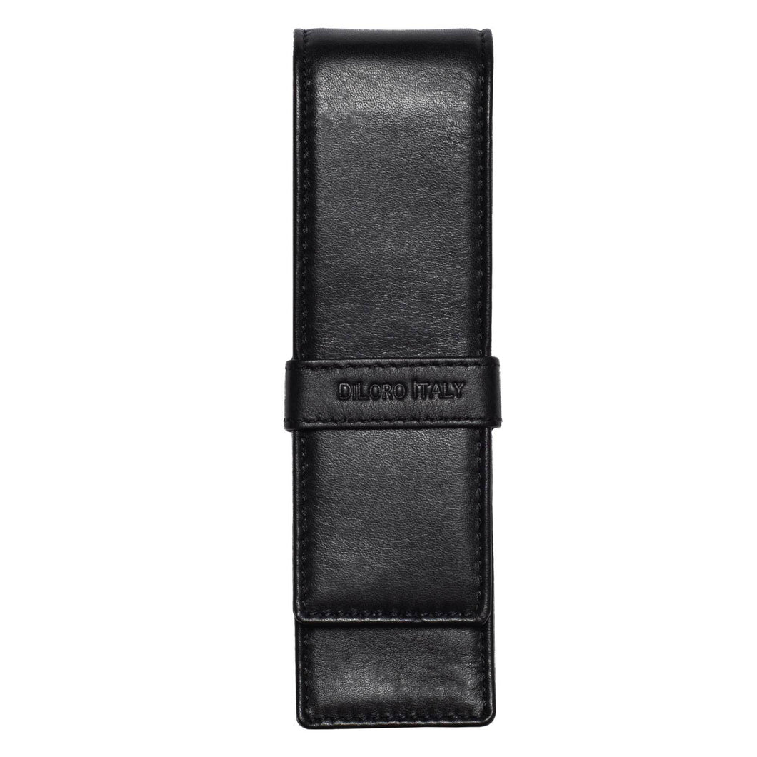 DiLoro Double Pen Case Holder in Top Quality, Full Grain Nappa Leather - Black Front View