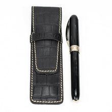 Load image into Gallery viewer, DiLoro Leather Pen Case Holder Black Croc Print for One Single Pen or Mechanical Pencil - Designed in Switzerland (Pen not included)