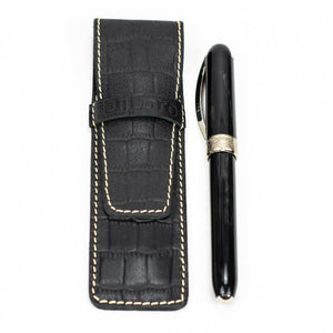 DiLoro Leather Pen Case Holder Black Croc Print for One Single Pen or Mechanical Pencil - Designed in Switzerland (Pen not included)