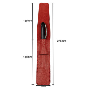 DiLoro Single Leather Pen Holder in Venetian Red, Full Grain Leather - Dimensions
