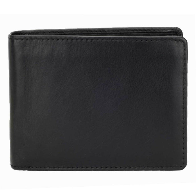 DiLoro Men's Leather Bifold Flip ID Zip Coin Wallet with RFID Protection in Black. Full grain nappa leather - best quality leather! Front View