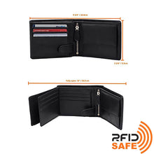 Load image into Gallery viewer, DiLoro Men's Leather Bifold Flip ID Zip Coin Wallet with RFID Protection in Black. Full grain nappa leather - best quality leather! Dimensions of our wallet.