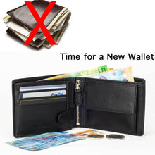 Load image into Gallery viewer, DiLoro Men's Leather Bifold Flip ID Zip Coin Wallet with RFID Protection in Black. Don't overstuff your wallet!