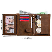 Load image into Gallery viewer, DiLoro Men's Vertical Leather Bifold Flip ID Zip Coin Wallet Dark Hunter Brown RFID Blocking Technology - Inside, Open View with Dimensions