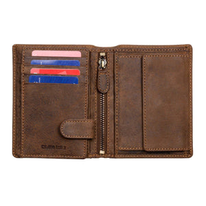 DiLoro Men's Vertical Leather Bifold Flip ID Zip Coin Wallet Dark Hunter Brown RFID Blocking Technology - Inside, Half Open View