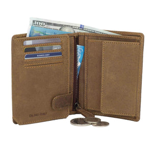 DiLoro Men's Vertical Leather Bifold Flip ID Zip Coin Wallet Light Hunter Brown with RFID Protection Half Open