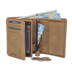 DiLoro Men's Vertical Leather Bifold Flip ID Zip Coin Wallet Natural (Light Hunter Brown) with RFID Protection - Half Open