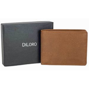 DiLoro Men's Leather Bifold Flip ID Zip Coin Wallet with RFID Protection in Natural (Light) Hunter Brown) with Gift Box