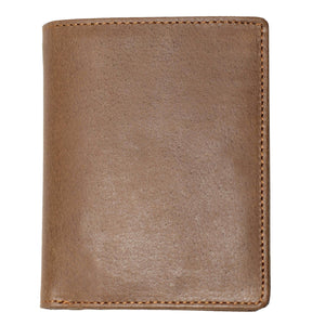 DiLoro Men's Vertical Leather Bifold Flip ID Zip Coin Wallet Natural (Light Hunter Brown) with RFID Protection - Front View