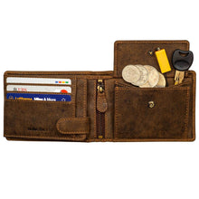 Load image into Gallery viewer, DiLoro Men's Leather Bifold Flip ID Zip Coin Wallet with RFID Protection - Dark Hunter Brown