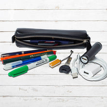 Load image into Gallery viewer, DiLoro Pen & Pencil Case: YKK zippered pencil, pen case made from top quality, full grain nappa leather. Ideal for when you travel to keep your favorite pen, pencils, fountain pen, calligraphy pens, gel pens, stylus pen protected from getting scratched up