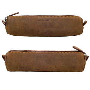 Multi-Purpose Zippered Leather Pen Pencil Case in Various Colors - Hunter Brown (front and back)