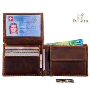 Compact Mens Leather Wallet with Coin Compartment in Antique Brown - Inside View, Flip-ID Open, Fully Loaded