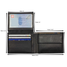 Load image into Gallery viewer, DiLoro Compact Bifold Leather Wallet RFID Safe Midnight Black