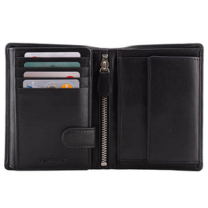 Men's Large Leather Wallet RFID Vertical 2.0 Black - Half Open