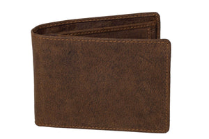DiLoro Italy Men's Leather Wallet RFID Blocking Genuine Full Grain, Vegetable Tanned Leather, Bifold Flip Coin Wallet with RFID Blocking Technology to Protect your from Identity Theft, Dark Hunter Brown - Front View