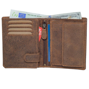 DiLoro Men's Vertical Leather Bifold Flip ID Zip Coin Wallet Dark Hunter Brown - Half Open