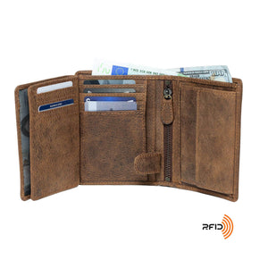 DiLoro Men's Vertical Leather Bifold Flip ID Zip Coin Wallet Dark Hunter Brown with RFID Protection Fully Open