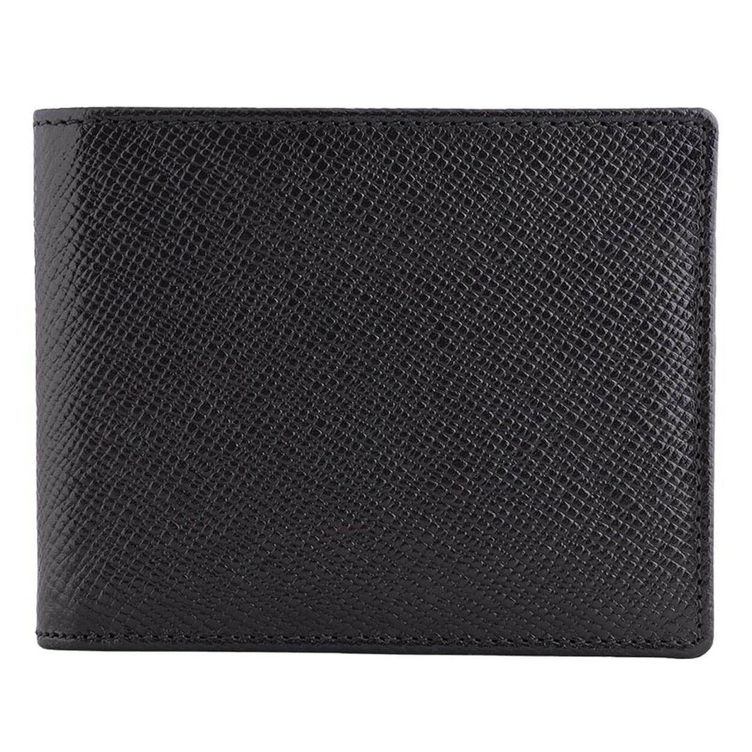 DiLoro Men's Saffiano Style Slim Bifold Leather Wallet in Firenze Black - Front View