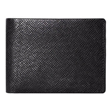 Load image into Gallery viewer, DiLoro Men's Slim Bifold Leather Wallet 2 ID Windows Black Saffiano - Front View