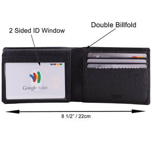 DiLoro Men's Slim Bifold Leather Wallet 2 ID Windows Black Saffiano - Dimensions and Features