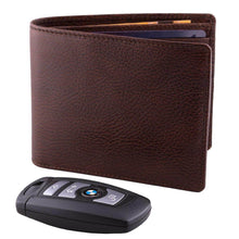 Load image into Gallery viewer, DiLoro Men's Bifold Leather Wallet Lugano Gemini Brown - Front View with BMW Key (not included)