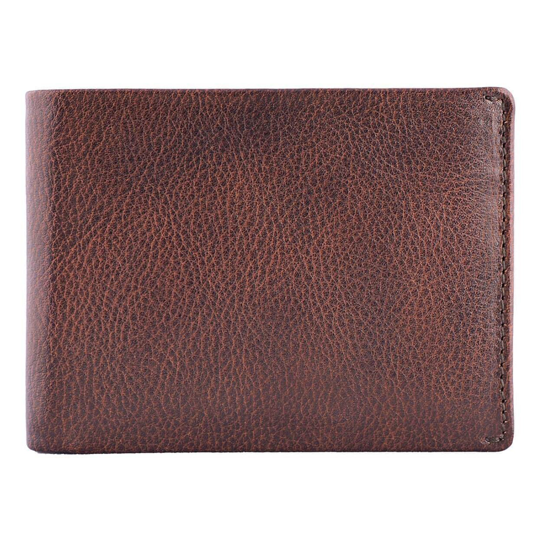 DiLoro Men's Slim Leather Wallet 2 ID Windows Gemini Brown - Front View