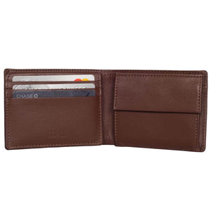 Compact Mens Leather Wallet with Coin Compartment in Hickory Brown - Inside View, Half Open