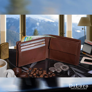 Compact Mens Leather Wallet with Coin Compartment in Hickory Brown - Half Open Inside  View