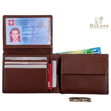 Load image into Gallery viewer, Compact Mens Leather Wallet with Coin Compartment in Hickory Brown - Inside View, Flip-ID Open (with currency - not included)