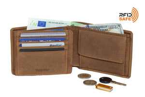 DiLoro Men's Leather Bifold Wallet with Flip ID, Coin Wallet and RFID Blocking Technology half open.