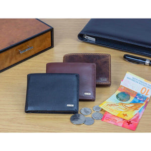 Compact European Style Men's Leather Wallet with Coin Compartment in Various Colors