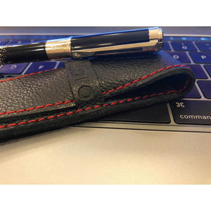 DiLoro Single Leather Pen Holder in Black with Red accent Stichting Full Grain Leather - Pen Sleeve with Waterman Pen (pen not included)