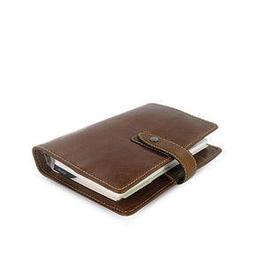 Filofax Malden Personal Ochre Leather Organizer Agenda Calendars 2020 Side View