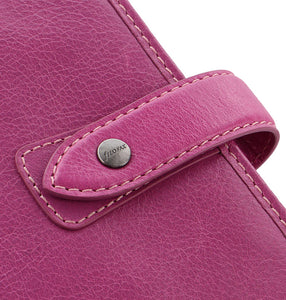 Filofax Malden Pocket Fuchsia Leather Organizer Agenda Calendars 2020 Detail Snap Closure View