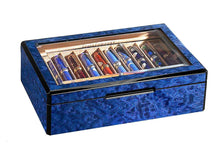 Load image into Gallery viewer, Venlo Blue 20 Twenty Pen Pencil Box Case Holder with Beveled Glass Top Maple Burlwood - Open View